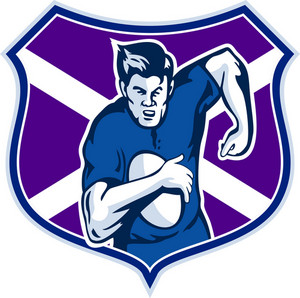 Rugby Player Flag And Shield Of Scotland