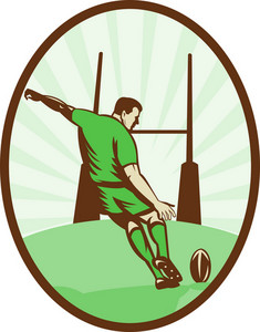 Rugby Player Kicking Ball At Goal Post