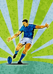Rugby Player Kicking Ball Grunge