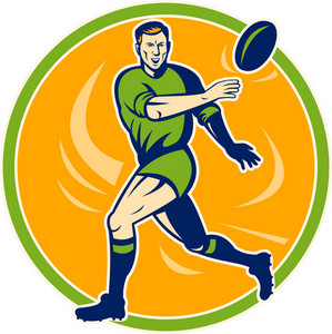 Rugby Player Running And Passing Ball