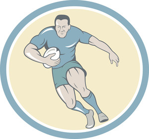 Rugby Player Running Ball Circle Cartoon
