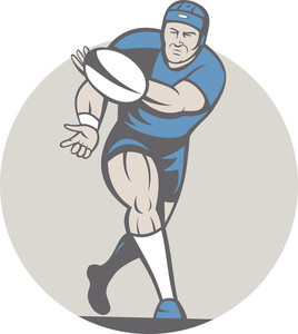 Rugby Player Running Ball Isolated Cartoon