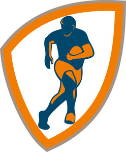 Rugby Player Running Shield Silhouette