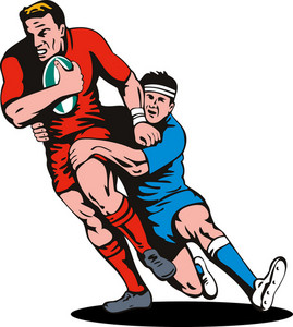 Rugby Player Running Tackled