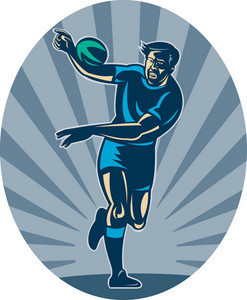 Rugby Player Running With Ball And Passing