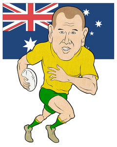 Rugby Player Running With Ball Australia Flag