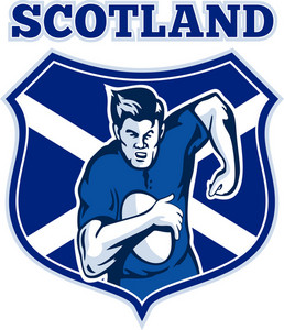 Rugby Player Scotland Flag Shield