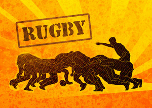 Rugby Player Scrum Silhouette