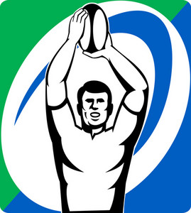 Rugby Player  Throw Lineout Ball