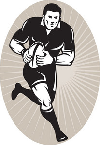 Rugby Player With Ball Wearing All Black