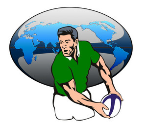 Rugby Player With Rugby Ball Map Design
