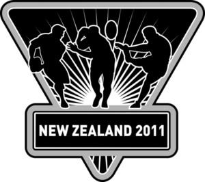 Rugby Run Fending Pass Kick Silhouette Shield