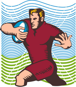 Rugby Running Fend Woodcut
