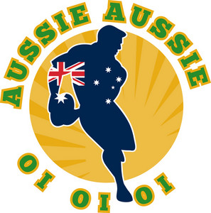 Rugby Running Player Flag Of Australia