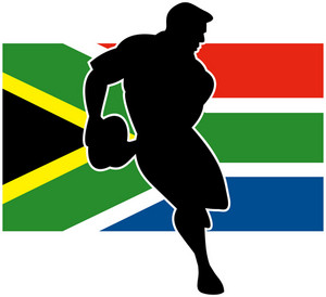Rugby Running Player Flag Of South Africa