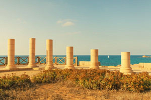 Ruins of ancient city Caesarea in Israel