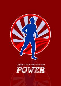 Runner Running Power Retro Poster