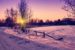 Rural evening winter landscape