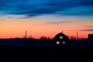 Rural landscape in evening at sunset