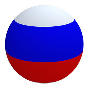 Russia Flag On The Ball Isolated On White.