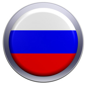 Russia Flag On The Round Button Isolated On White.