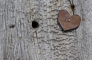 Rusty Heart Grunge Wood