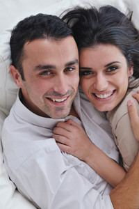 Happy young couple relaxing