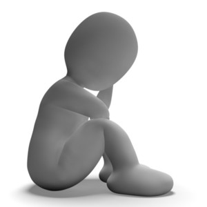 Sad And Unhappy 3d Character Showing Stress