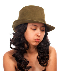 Sad Asian Girl Sitting Alone