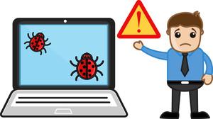 Sad Man Computer Corrupt - Virus - Vector Illustration