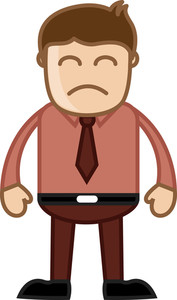 Sad Man In Office - Business Cartoon Character Vector