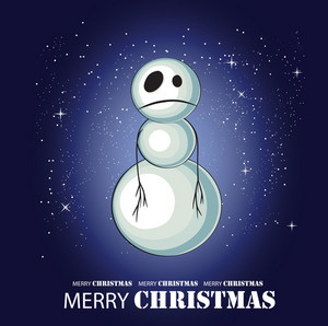 Sad Snowman Vector Greeting