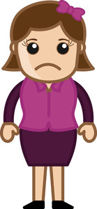 Sad Woman - Business Cartoon Character Vector