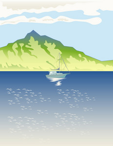 Sailboat Mountains Retro