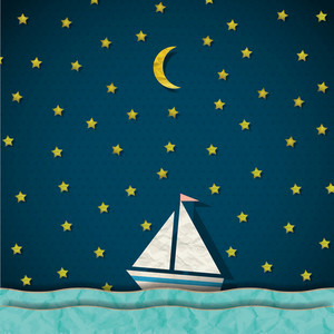 Sailing Boat At Night. Vector Paper-art