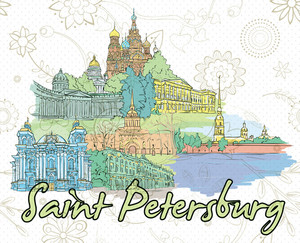 Saint Petersburg Doodles Vector Illustration