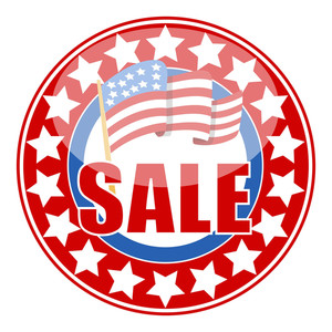 Sale Badge Sticker Seal With Usa Flag For Different Holidays Vector
