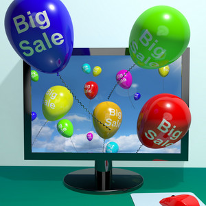 Sale Balloons Coming From Computer Showing Promotion Discount And Reductions Online
