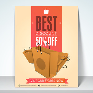Sale banner flyer or template design with best discount 50% off and shopping begs.