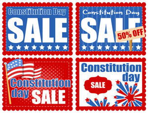 Sale Banners And Coupon  Constitution Day Vector Illustration