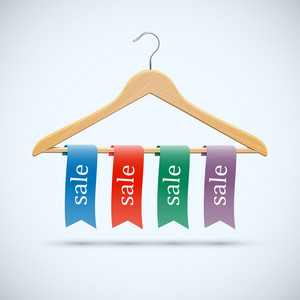 Sale Concept - Wooden Hangers With Colored Ribbons