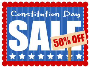 Sale Coupon Constitution Day Vector Illustration