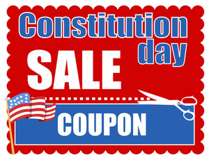 Sale Coupon Design Constitution Day Vector Illustration