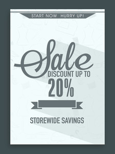 Sale flyer banner or template with best savings and discount offer.