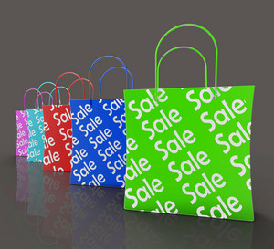 Sale Reduction Shopping Bags Shows Bargains