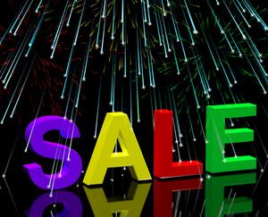 Sale Word And Fireworks Showing Promotion Discount And Reductions