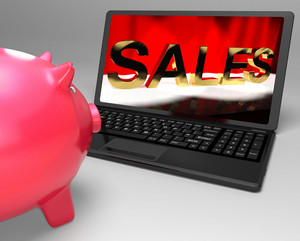 Sales On Laptop Showing Online Commerce