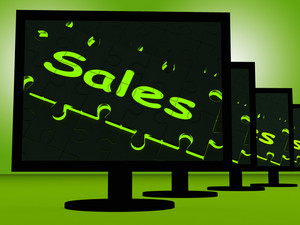 Sales On Monitors Shows Promotions