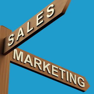 Sales Or Marketing Directions On A Signpost