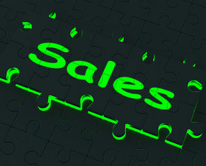 Sales Puzzle Shows Promotional Products